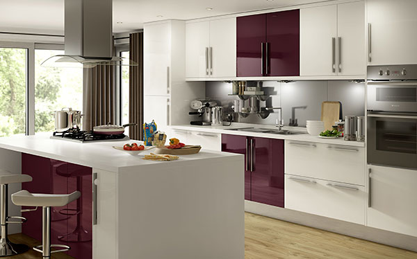 B&Q Raffello High Gloss Aubergine Slab kitchen