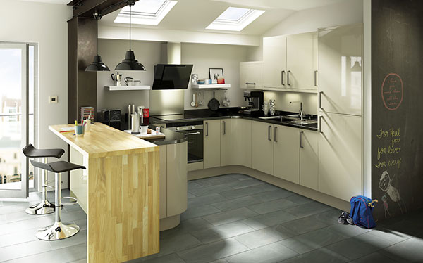 B&Q Santini Gloss Grey Slab fitted kitchen