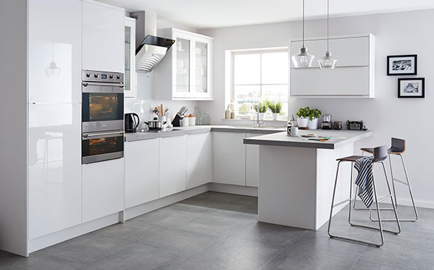 B&Q Santini Gloss White Slab kitchen