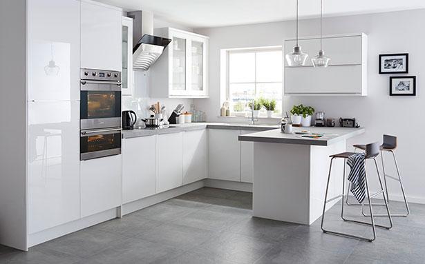 B&Q Santini Gloss White Slab kitchen