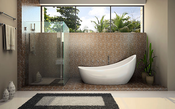 Freestanding Bath Tub In Mosaic Bathroom