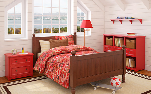 Bedroom in loft conversion - red furniture, sea view