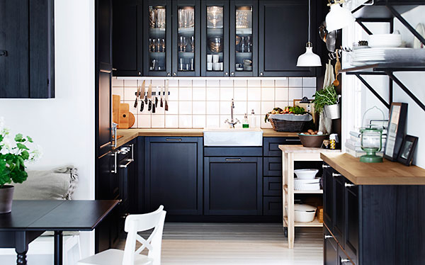 Ikea Laxarby Black Fitted Kitchen