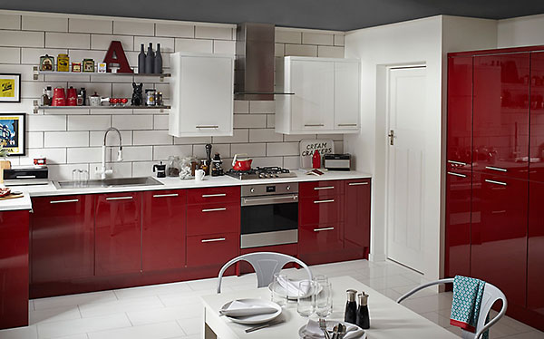 Modern colourful B&Q kitchen