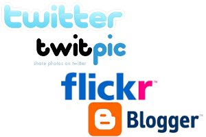 Twitter, Twitpic, Flickr and Blogger logos