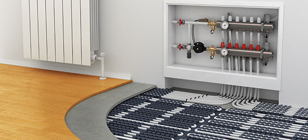 Water underfloor heating which for Best heating source for home